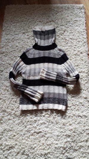 Rollkragenpullover schwarz weiß grau
