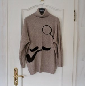 Zara Knit Jersey de cuello alto beige-negro