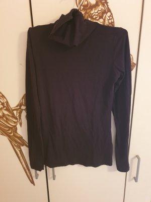 Amisu Camisa de cuello de tortuga negro tejido mezclado