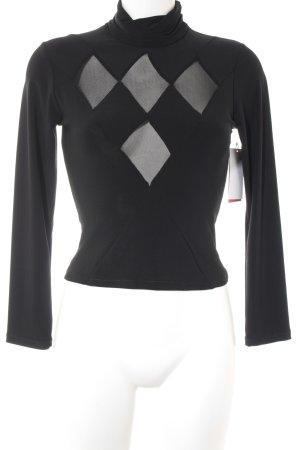 Colshirt zwart zigzag patroon casual uitstraling