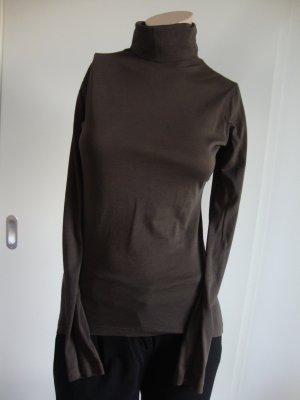 Stefanel Colshirt zwart bruin Katoen