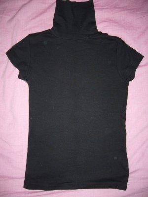 Rollkragenshirt T-Shirt-Ärmel schwarz 100 % Baumwolle Amisu XS 34