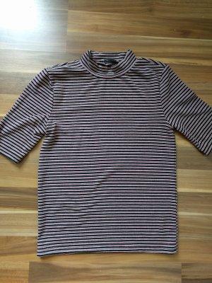 Rollkragenshirt Zara Streifen 70er Boho Hippie Look metallic kurzarm T-Shirt