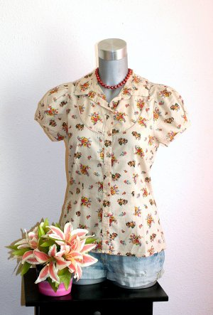Romantic Design Flower Bluse Gr. 38/40 Creme Pink