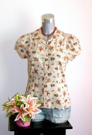 Romantic Design Flower Bluse Gr. 38/40 Creme Pink