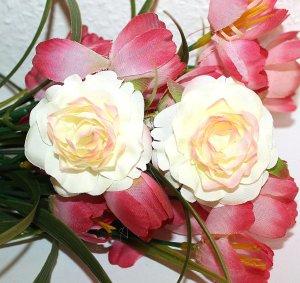 Romantic Haarspangen Set Flower Blume Pastell Gelb Rose Haarspange