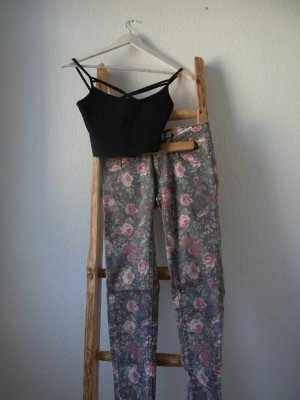 Romantisch geblümte Röhre / Skinny / Skinny-Jeans mit floralem Muster / Nude / Khaki / Altrosa