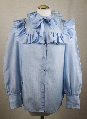Romantisch Üppige Rüschen Bluse s`Oliver Größe M 38 Hellblau Blau Satin Muster Old Western Style Blogger Schluppenbluse Retro Hemd