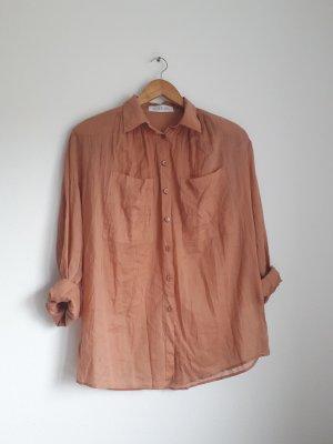 romantische Bluse aus dünner Baumwolle pfirsich