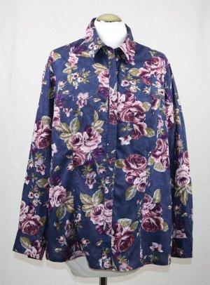 Romantische Bluse Bexley`s Woman Größe XL 46 Blau Rosa Hemd Rosen Blumen Druck Muster Landhaus Baumwolle