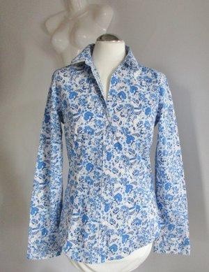 Romantische Bluse H&M M 40 Stretch Blau Weiß Beige Blumen Vogel Baumwolle Blüten