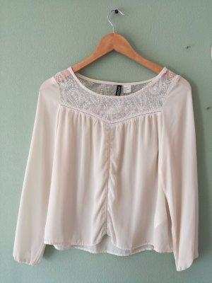 HM Kanten blouse room-wolwit Polyester