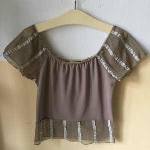 Romantische Bluse mit transparenten Elementen und weitem Ausschnitt, Taupe