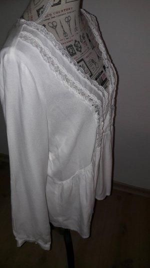 romantische Bluse mit Volant u.Spitze NEU