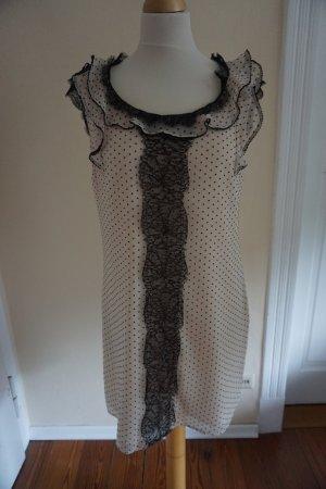 romantische Chiffon Kleid in rosé/nude mit Spitze und Rüschen
