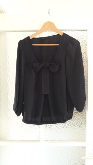 Zara Basic Glanzende blouse zwart Polyester