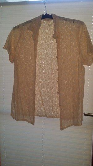 romantische vintage bluse beige spitze