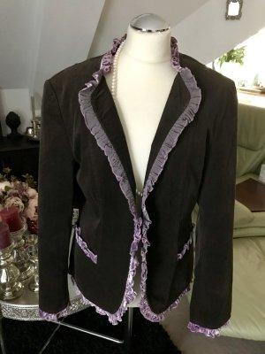 Romantischer Blazer Jacke mit Spitzen Samtsaum von Taifun größe 42 braun lila