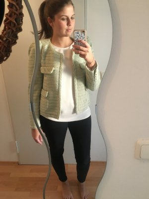 Zara Woman Blazer en laine gris vert-beige clair tissu mixte