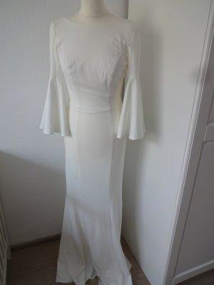 romantisches Brautkleid cremeweiß glöckchenärmel