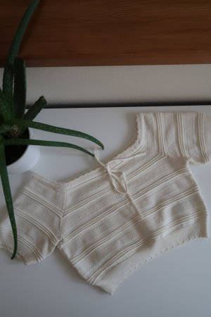 Romantisches Crop Top Spitze Beige Bluse Kurze Ärmel