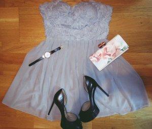 Romantisches Kleid 3D Blumen grau