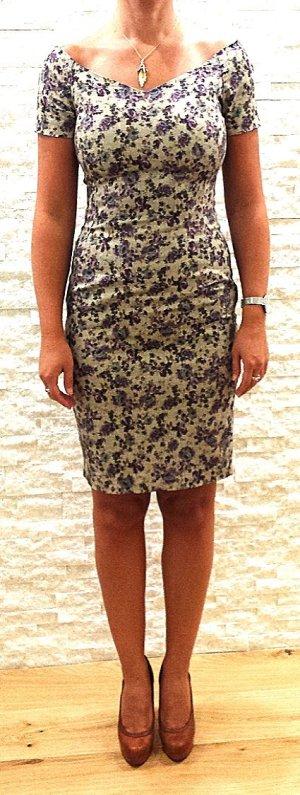 Romantisches, schulterfreies Kleid in herbstlichen Farben von Zara, Gr. S