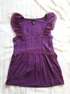 H&M Flounce Top purple mixture fibre