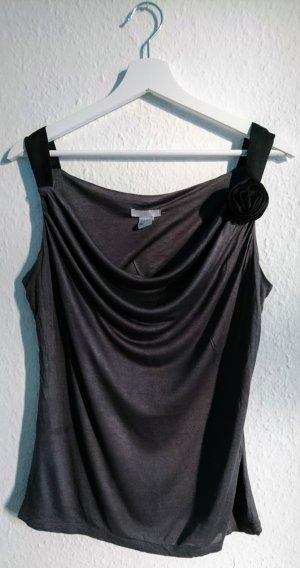 H&M Top collo ad anello nero-grigio scuro