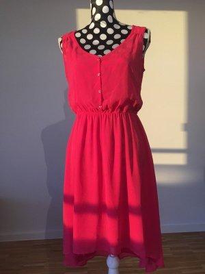 Romantisches Träger-Sommerkleid von Esprit mit einer transparenten Lage in kräftigem Pink