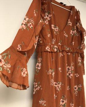 Romantisches Vokuhila Empire Scuba Volant Kleid Volantkleid Midi Gr. 40 Bohemien Look Boho Hippie Style Tolle Herbstfarben fällt wunderschön