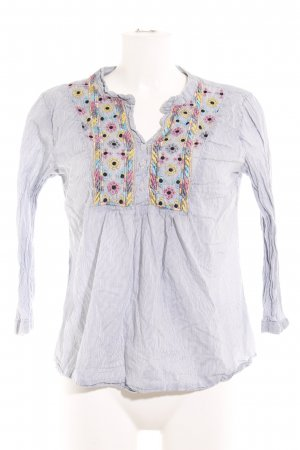 Romeo & Juliet Couture Langarm-Bluse weiß-blau Streifenmuster Casual-Look