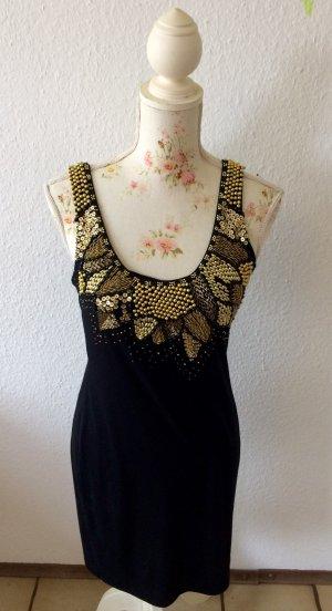 Romeo & Juliet Couture - Pailettenkleid - schwarz mit goldenen Perlenstickereien am Ausschnitt