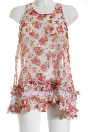 Romeo & Juliet Couture Rüschentop Blumenmuster Transparenz-Optik