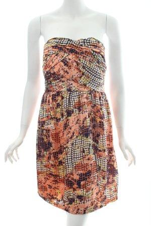 Romeo & Juliet Couture schulterfreies Kleid apricot-dunkelblau abstraktes Muster