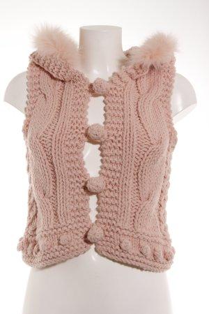 Romeo & Juliet Couture Strickweste rosa Zopfmuster Kuschel-Optik