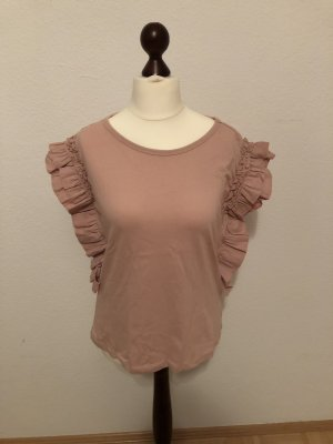 Romeo & Juliet Couture Top a balze rosa-rosa chiaro