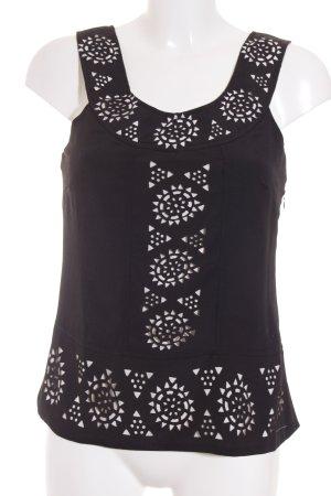Romeo & Juliet Couture Trägertop weiß-schwarz abstraktes Muster Business-Look