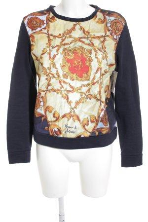 Romeo & Julieta Sweatshirt dunkelblau-goldorange Motivdruck Casual-Look