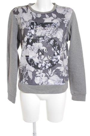Romeo & Julieta Sweat Shirt light grey-dark grey floral pattern casual look