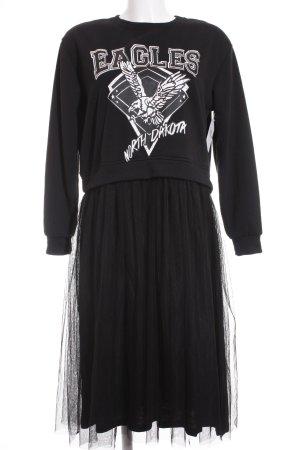 Romwe Langarmkleid schwarz-weiß Motivdruck extravaganter Stil