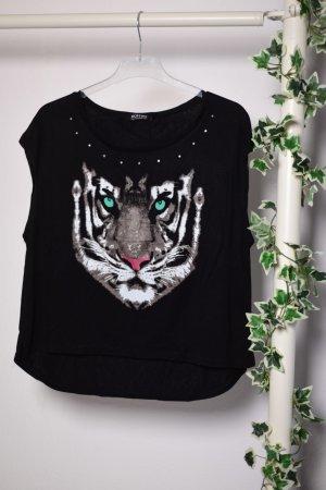 Romwe Shirt mit Tiger Print und Strasssteinen