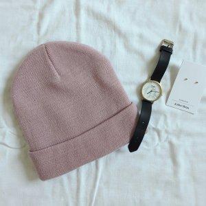 Rosa Beanie Mütze mit Umschlag ASOS