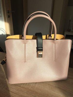 Rosa-Beige farbene Handtasche mit Gold