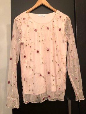 Rosa Bluse mit Netzstoff und Blumen von Reserved