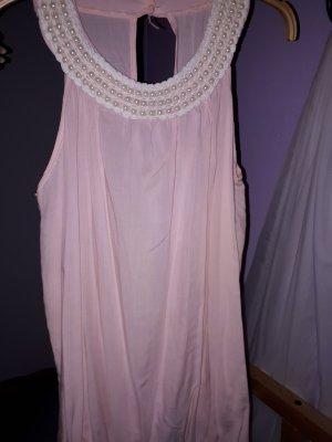 Rosa Bluse mit Perlen-Kragen
