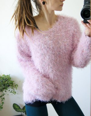 Rosa-bunt melierter Fusselpullover, vintage Flauschepullover Pastell Bonbon, blogger