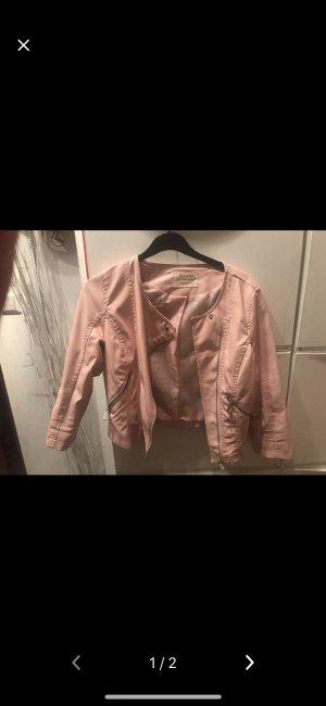 Rosa Fake Leder Jacke