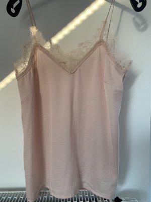 H&M Kanten topje stoffig roze