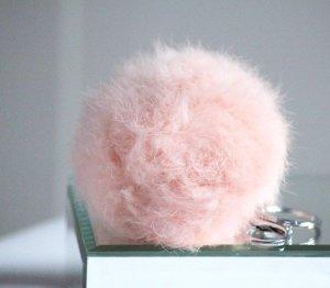 Rosa Fellpuschel Fell Anhänger neu rosa Blogger Silber Winter